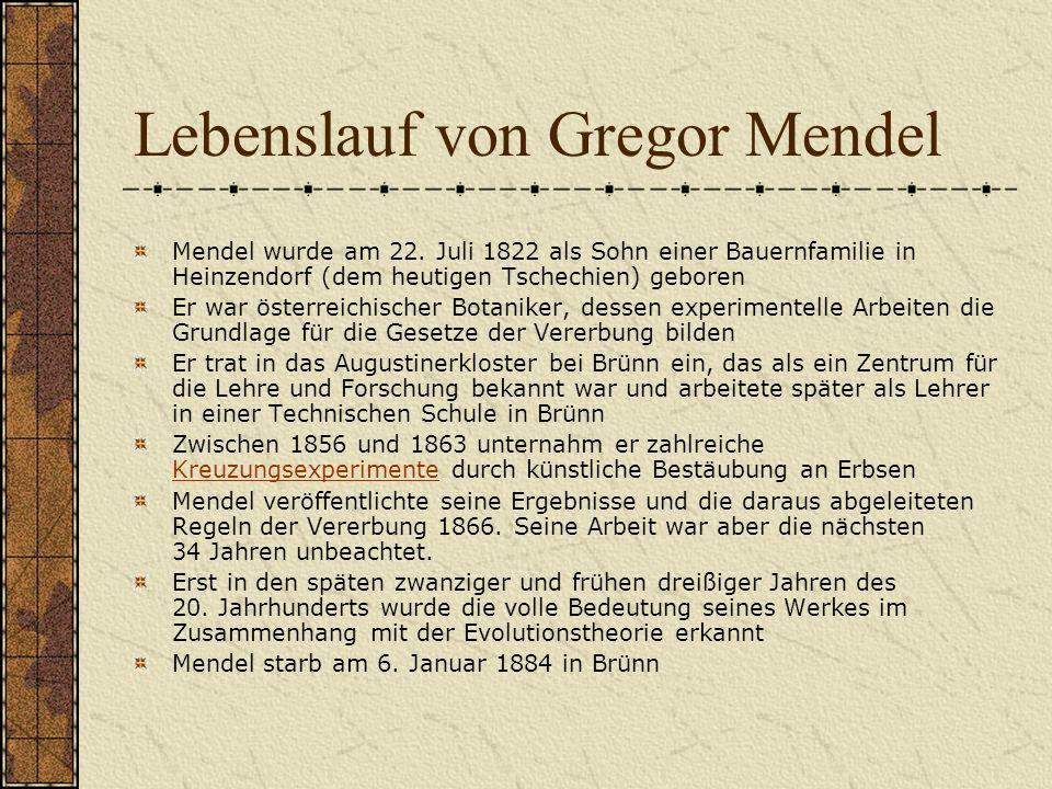 Lebenslauf von Gregor Mendel Mendel wurde am 22. Juli 1822 als Sohn einer Bauernfamilie in Heinzendorf (dem heutigen Tschechien) geboren Er war österr