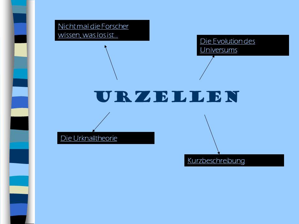 Urzellen Nicht mal die Forscher wissen, was los ist... Die Evolution des Universums Die Urknalltheorie Kurzbeschreibung