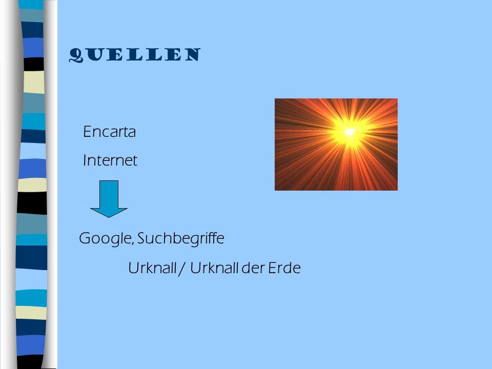 Quellen Encarta Internet Google, Suchbegriffe Urknall / Urknall der Erde