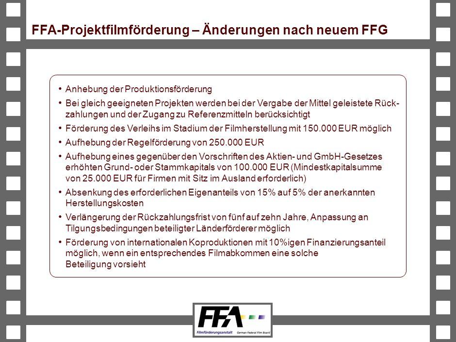 BVA-191326-489-VMS2-v6-he FFA-Projektfilmförderung – Änderungen nach neuem FFG Anhebung der Produktionsförderung Bei gleich geeigneten Projekten werden bei der Vergabe der Mittel geleistete Rück- zahlungen und der Zugang zu Referenzmitteln berücksichtigt Förderung des Verleihs im Stadium der Filmherstellung mit 150.000 EUR möglich Aufhebung der Regelförderung von 250.000 EUR Aufhebung eines gegenüber den Vorschriften des Aktien- und GmbH-Gesetzes erhöhten Grund- oder Stammkapitals von 100.000 EUR (Mindestkapitalsumme von 25.000 EUR für Firmen mit Sitz im Ausland erforderlich) Absenkung des erforderlichen Eigenanteils von 15% auf 5% der anerkannten Herstellungskosten Verlängerung der Rückzahlungsfrist von fünf auf zehn Jahre, Anpassung an Tilgungsbedingungen beteiligter Länderförderer möglich Förderung von internationalen Koproduktionen mit 10%igen Finanzierungsanteil möglich, wenn ein entsprechendes Filmabkommen eine solche Beteiligung vorsieht