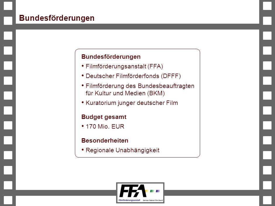 BVA-191326-489-VMS2-v6-he Bundesförderungen Filmförderungsanstalt (FFA) Deutscher Filmförderfonds (DFFF) Filmförderung des Bundesbeauftragten für Kultur und Medien (BKM) Kuratorium junger deutscher Film Budget gesamt 170 Mio.