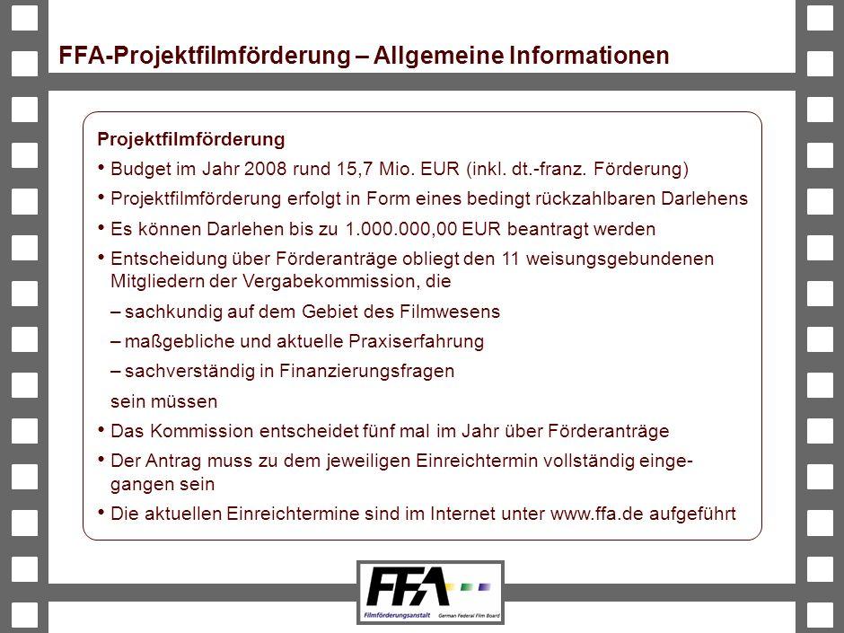 BVA-191326-489-VMS2-v6-he Projektfilmförderung Budget im Jahr 2008 rund 15,7 Mio.