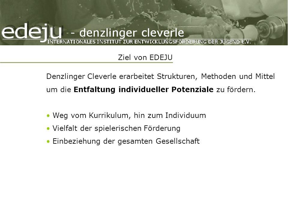 Ziel von EDEJU Denzlinger Cleverle erarbeitet Strukturen, Methoden und Mittel um die Entfaltung individueller Potenziale zu fördern.
