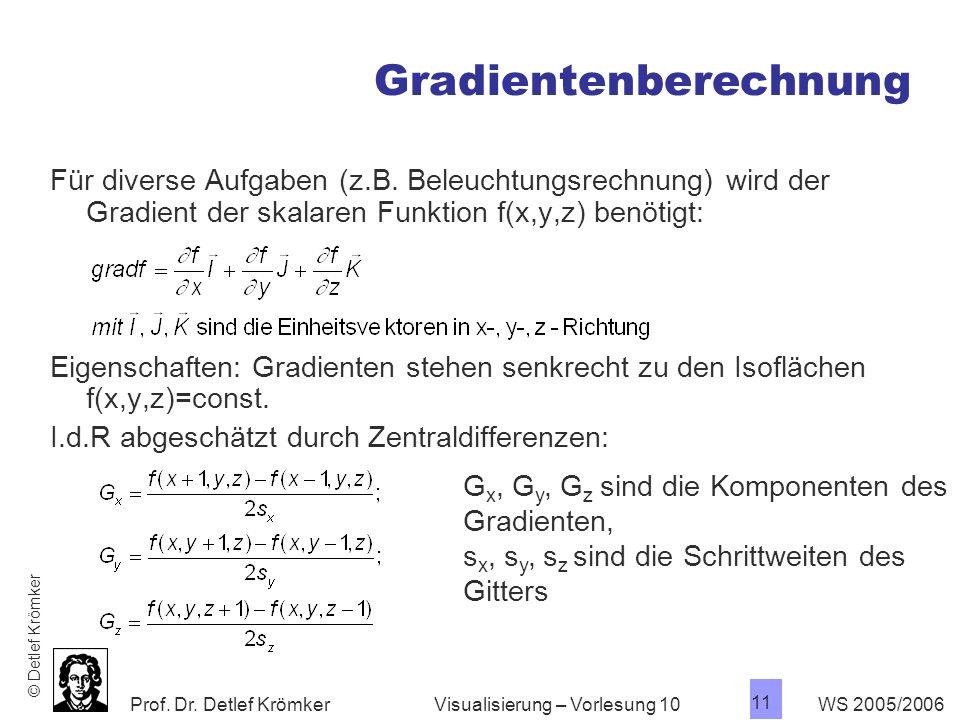 Prof. Dr. Detlef Krömker WS 2005/2006 11 Visualisierung – Vorlesung 10 Gradientenberechnung Für diverse Aufgaben (z.B. Beleuchtungsrechnung) wird der