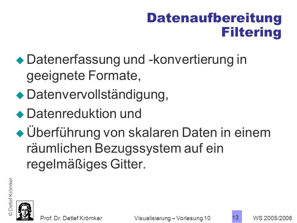 Prof. Dr. Detlef Krömker WS 2005/2006 13 Visualisierung – Vorlesung 10 Datenaufbereitung Filtering Datenerfassung und -konvertierung in geeignete Form