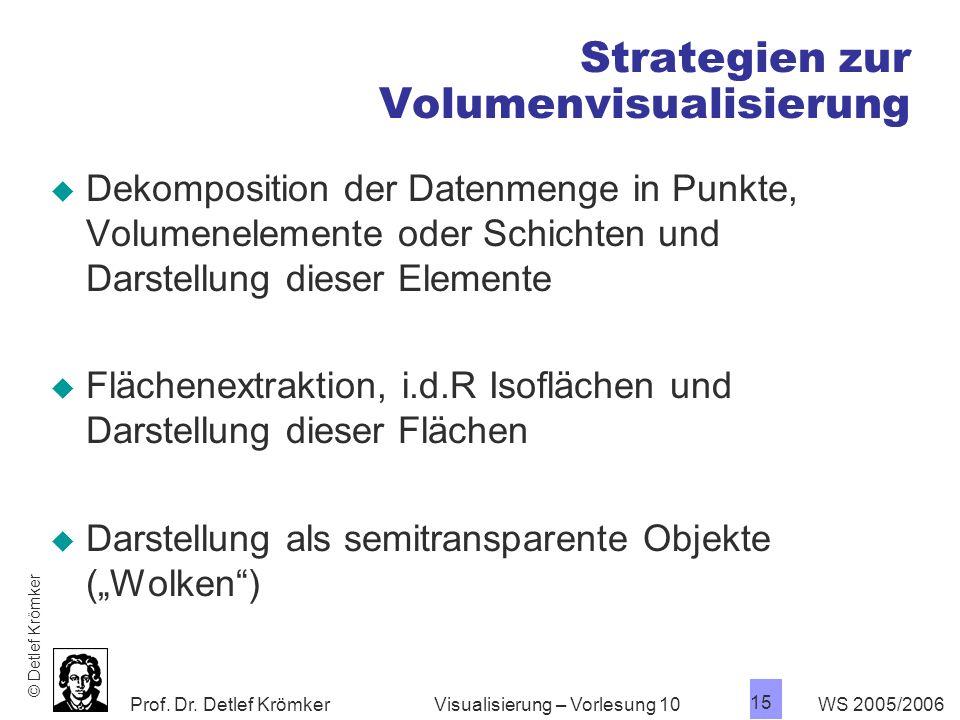 Prof. Dr. Detlef Krömker WS 2005/2006 15 Visualisierung – Vorlesung 10 Strategien zur Volumenvisualisierung Dekomposition der Datenmenge in Punkte, Vo