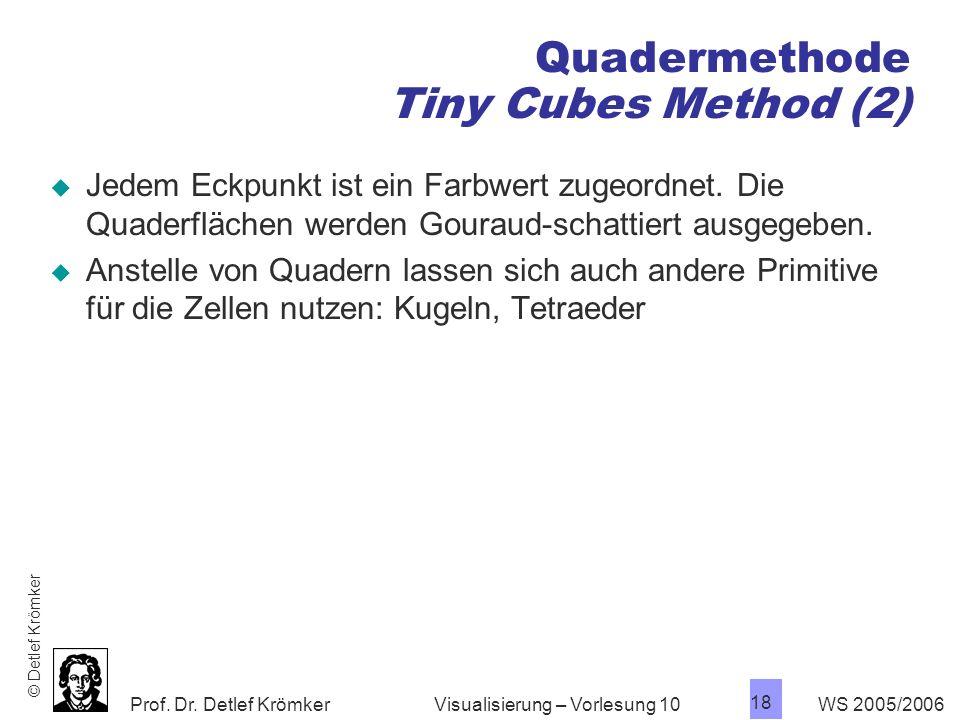 Prof. Dr. Detlef Krömker WS 2005/2006 18 Visualisierung – Vorlesung 10 Quadermethode Tiny Cubes Method (2) Jedem Eckpunkt ist ein Farbwert zugeordnet.