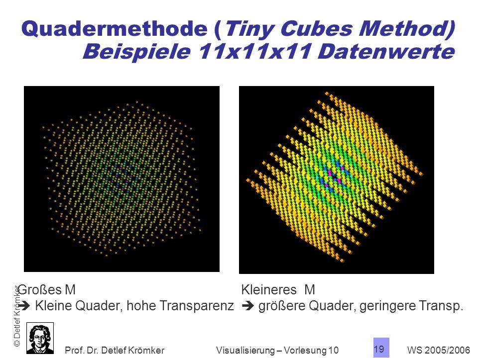 Prof. Dr. Detlef Krömker WS 2005/2006 19 Visualisierung – Vorlesung 10 Quadermethode (Tiny Cubes Method) Beispiele 11x11x11 Datenwerte Großes M Kleine