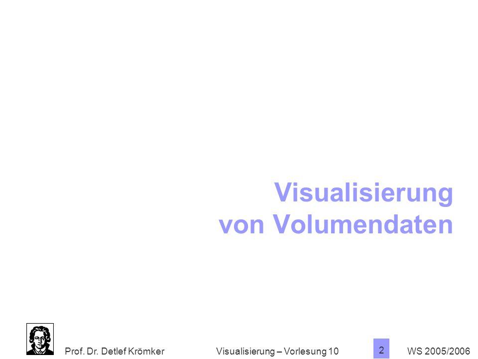 Prof. Dr. Detlef Krömker WS 2005/2006 2 Visualisierung – Vorlesung 10 Visualisierung von Volumendaten