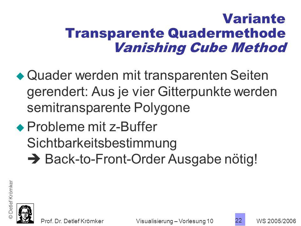 Prof. Dr. Detlef Krömker WS 2005/2006 22 Visualisierung – Vorlesung 10 Variante Transparente Quadermethode Vanishing Cube Method Quader werden mit tra
