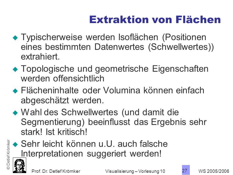 Prof. Dr. Detlef Krömker WS 2005/2006 27 Visualisierung – Vorlesung 10 Extraktion von Flächen Typischerweise werden Isoflächen (Positionen eines besti