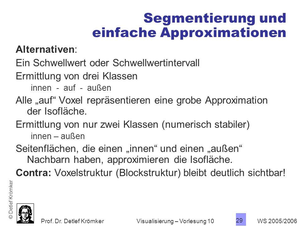 Prof. Dr. Detlef Krömker WS 2005/2006 29 Visualisierung – Vorlesung 10 Segmentierung und einfache Approximationen Alternativen: Ein Schwellwert oder S