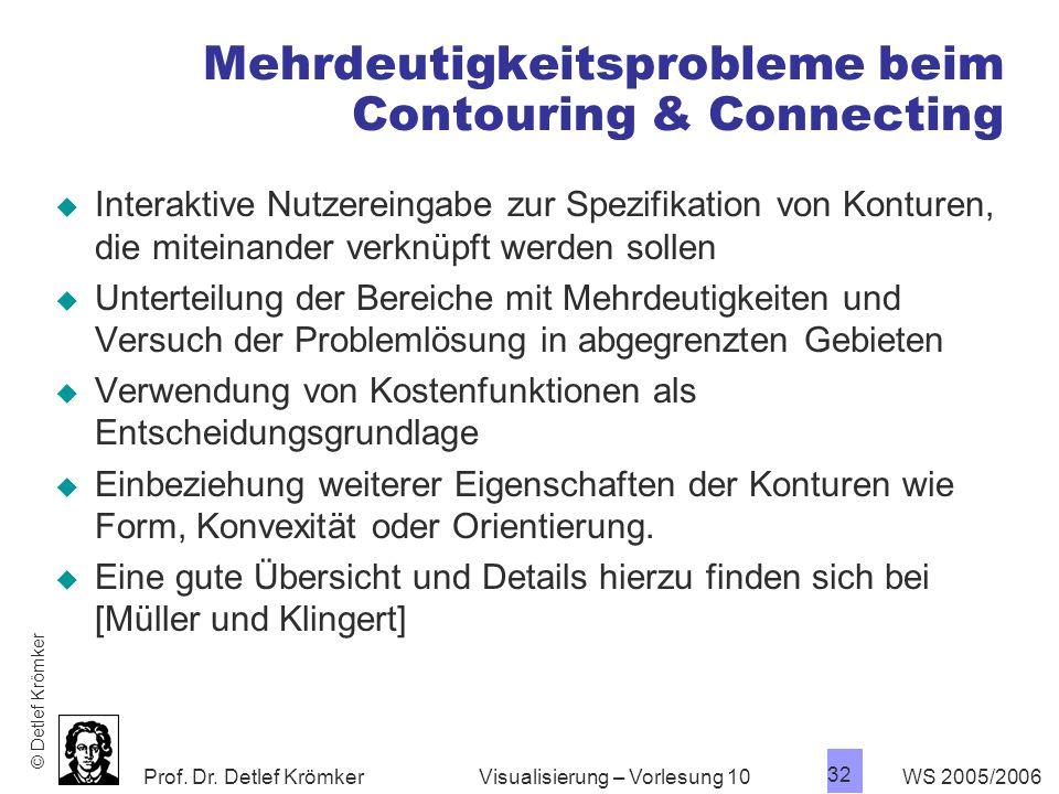 Prof. Dr. Detlef Krömker WS 2005/2006 32 Visualisierung – Vorlesung 10 Mehrdeutigkeitsprobleme beim Contouring & Connecting Interaktive Nutzereingabe