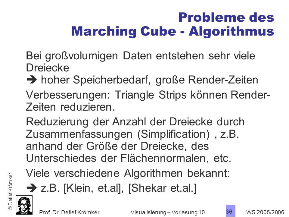 Prof. Dr. Detlef Krömker WS 2005/2006 36 Visualisierung – Vorlesung 10 Probleme des Marching Cube - Algorithmus Bei großvolumigen Daten entstehen sehr