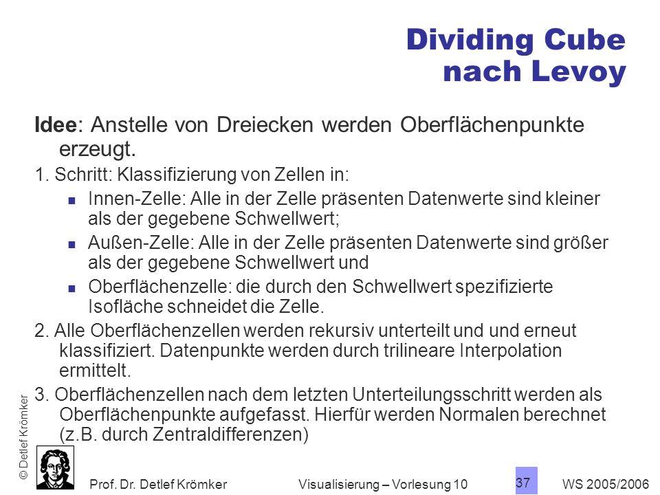 Prof. Dr. Detlef Krömker WS 2005/2006 37 Visualisierung – Vorlesung 10 Dividing Cube nach Levoy Idee: Anstelle von Dreiecken werden Oberflächenpunkte