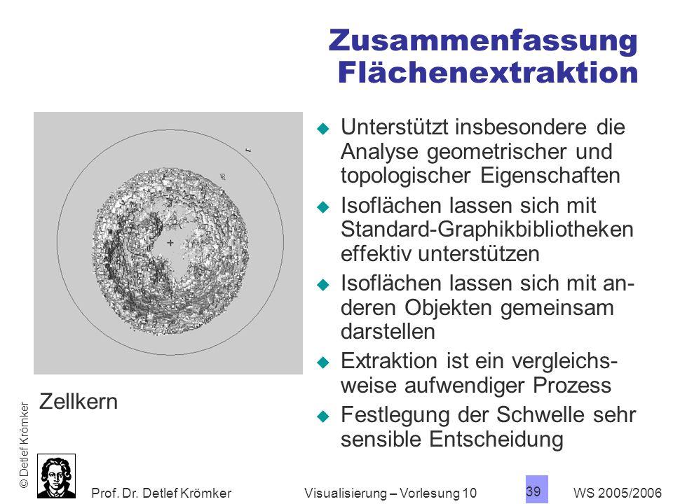Prof. Dr. Detlef Krömker WS 2005/2006 39 Visualisierung – Vorlesung 10 Zusammenfassung Flächenextraktion Unterstützt insbesondere die Analyse geometri