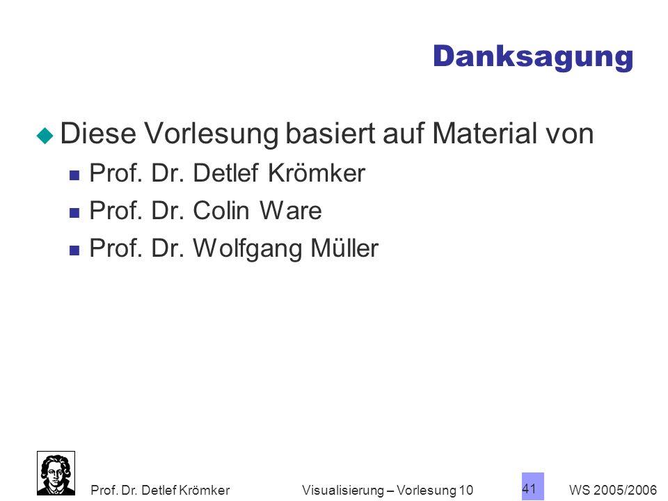 Prof. Dr. Detlef Krömker WS 2005/2006 41 Visualisierung – Vorlesung 10 Danksagung Diese Vorlesung basiert auf Material von Prof. Dr. Detlef Krömker Pr