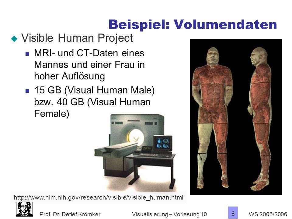 Prof. Dr. Detlef Krömker WS 2005/2006 8 Visualisierung – Vorlesung 10 Beispiel: Volumendaten Visible Human Project MRI- und CT-Daten eines Mannes und