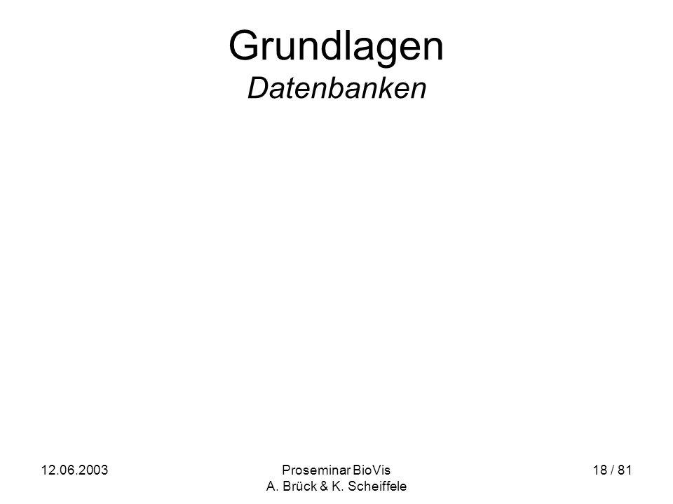 12.06.2003Proseminar BioVis A. Brück & K. Scheiffele 18 / 81 Grundlagen Datenbanken