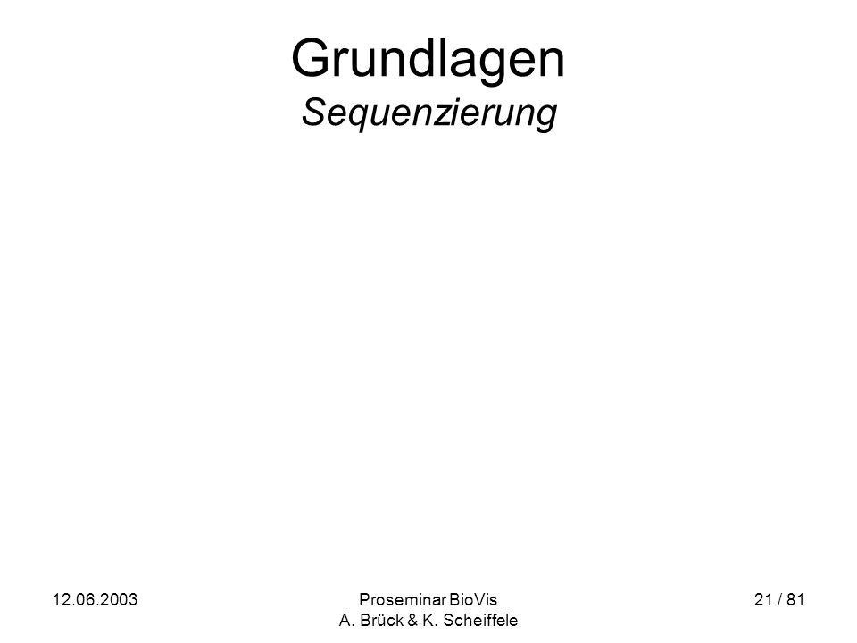 12.06.2003Proseminar BioVis A. Brück & K. Scheiffele 21 / 81 Grundlagen Sequenzierung