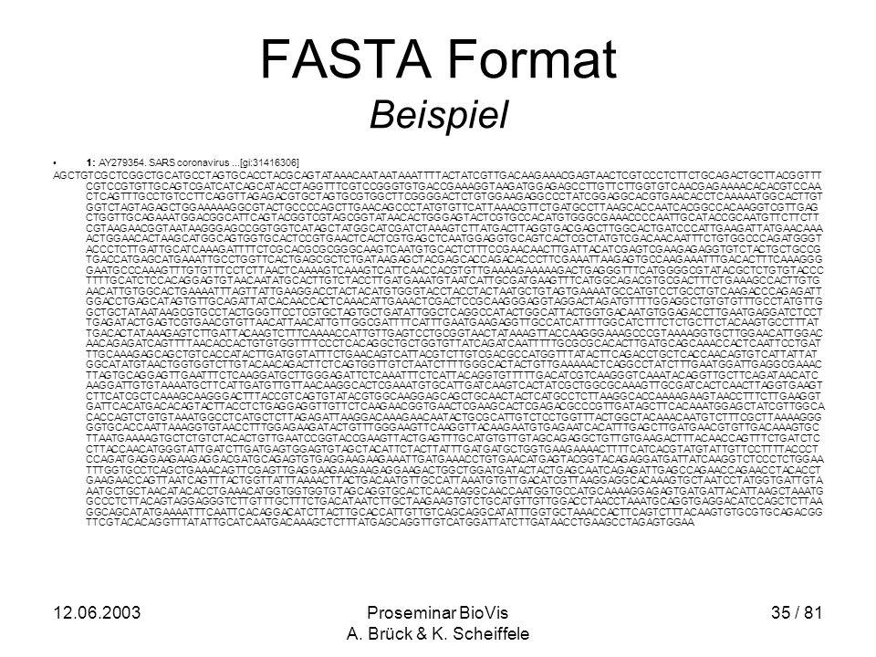12.06.2003Proseminar BioVis A. Brück & K. Scheiffele 35 / 81 FASTA Format Beispiel 1: AY279354.