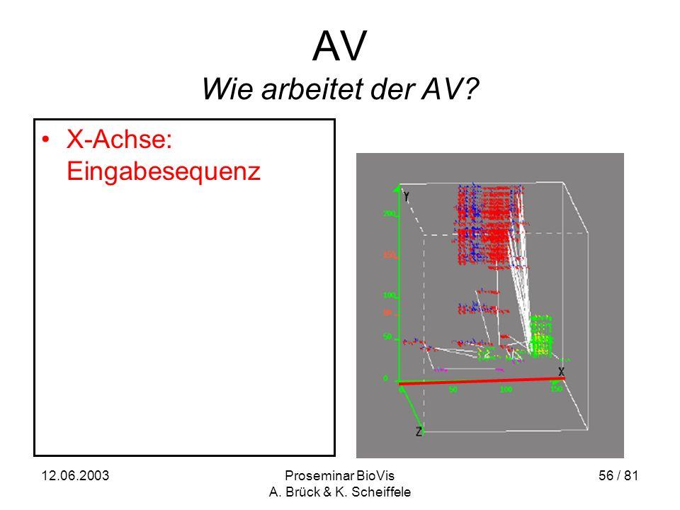 12.06.2003Proseminar BioVis A. Brück & K. Scheiffele 56 / 81 AV Wie arbeitet der AV.