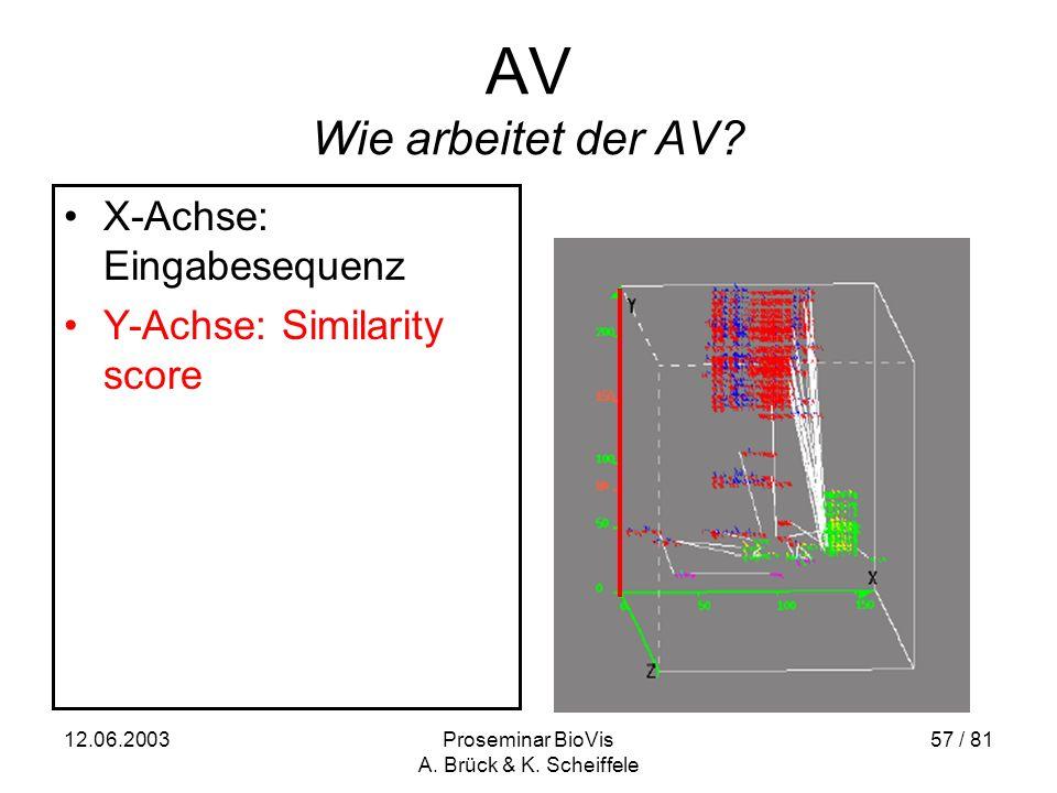 12.06.2003Proseminar BioVis A. Brück & K. Scheiffele 57 / 81 AV Wie arbeitet der AV.