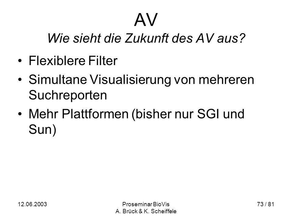 12.06.2003Proseminar BioVis A. Brück & K. Scheiffele 73 / 81 AV Wie sieht die Zukunft des AV aus.
