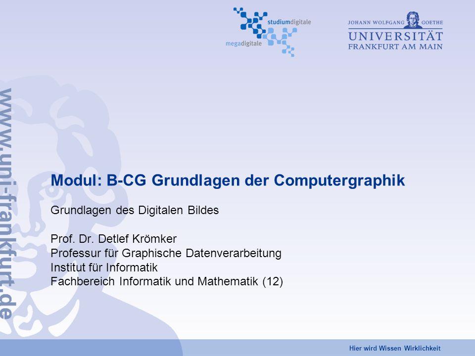 Hier wird Wissen Wirklichkeit Modul: B-CG Grundlagen der Computergraphik Grundlagen des Digitalen Bildes Prof.