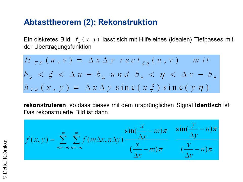 Abtasttheorem (2): Rekonstruktion Ein diskretes Bild lässt sich mit Hilfe eines (idealen) Tiefpasses mit der Übertragungsfunktion rekonstruieren, so dass dieses mit dem ursprünglichen Signal identisch ist.