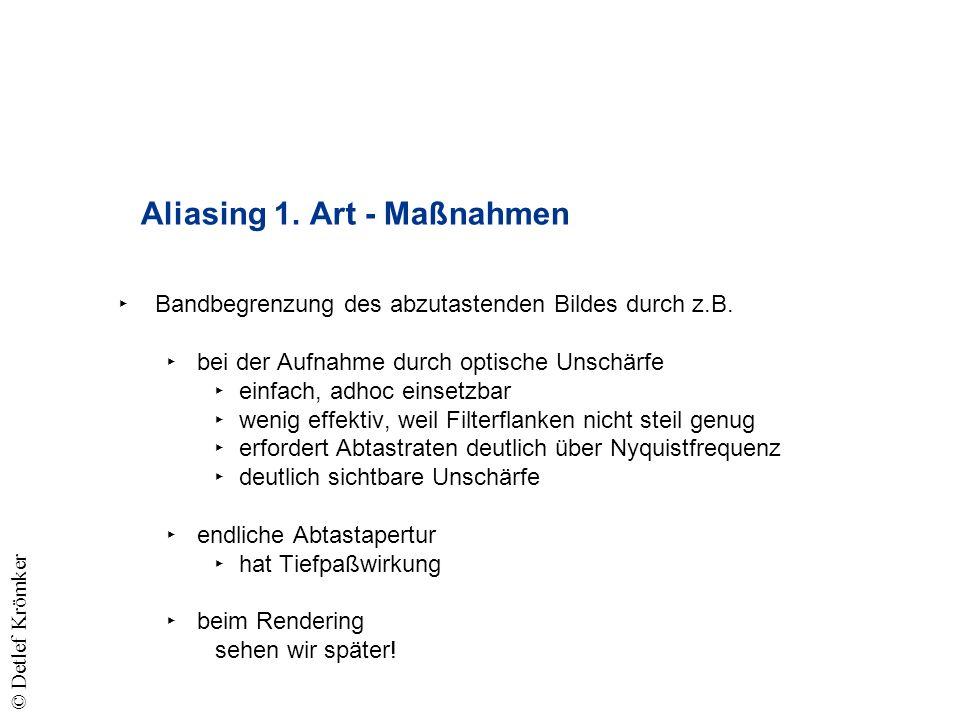 Aliasing 1. Art - Maßnahmen Bandbegrenzung des abzutastenden Bildes durch z.B.