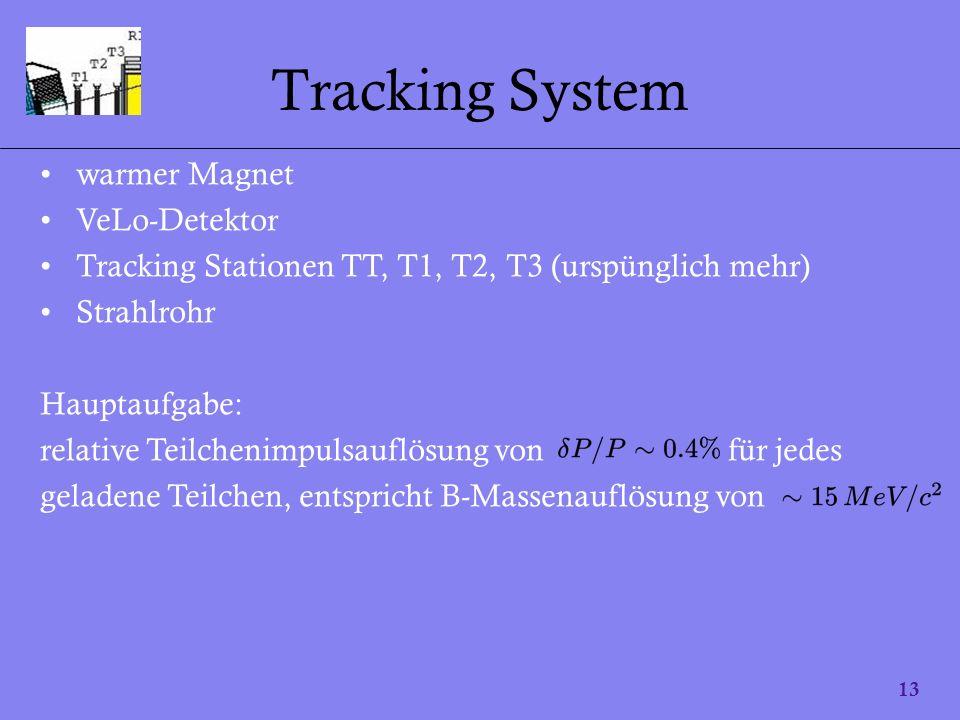 13 Tracking System warmer Magnet VeLo-Detektor Tracking Stationen TT, T1, T2, T3 (urspünglich mehr) Strahlrohr Hauptaufgabe: relative Teilchenimpulsau