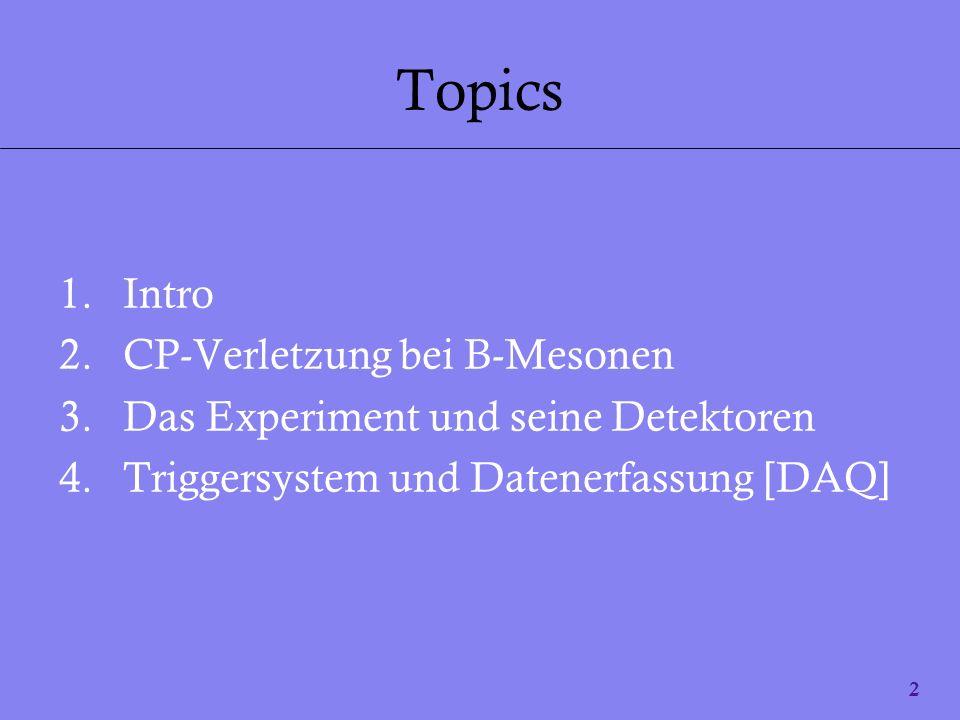 2 Topics 1.Intro 2.CP-Verletzung bei B-Mesonen 3.Das Experiment und seine Detektoren 4.Triggersystem und Datenerfassung [DAQ]