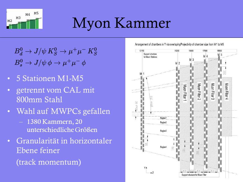 21 Myon Kammer 5 Stationen M1-M5 getrennt vom CAL mit 800mm Stahl Wahl auf MWPCs gefallen –1380 Kammern, 20 unterschiedliche Größen Granularität in ho
