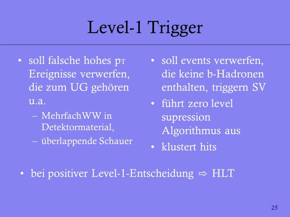 25 Level-1 Trigger soll falsche hohes p T Ereignisse verwerfen, die zum UG gehören u.a. –MehrfachWW in Detektormaterial, –überlappende Schauer soll ev