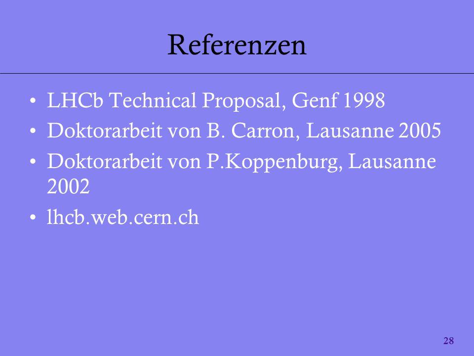 28 Referenzen LHCb Technical Proposal, Genf 1998 Doktorarbeit von B. Carron, Lausanne 2005 Doktorarbeit von P.Koppenburg, Lausanne 2002 lhcb.web.cern.