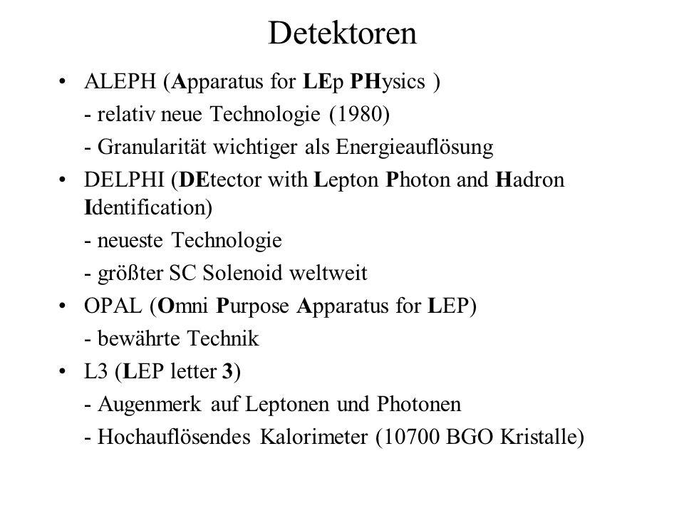 Detektoren ALEPH (Apparatus for LEp PHysics ) - relativ neue Technologie (1980) - Granularität wichtiger als Energieauflösung DELPHI (DEtector with Le