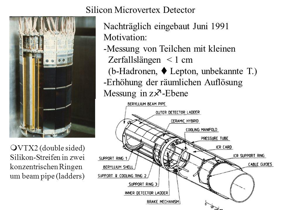 Silicon Microvertex Detector Nachträglich eingebaut Juni 1991 Motivation: -Messung von Teilchen mit kleinen Zerfallslängen < 1 cm (b-Hadronen, t Lepto