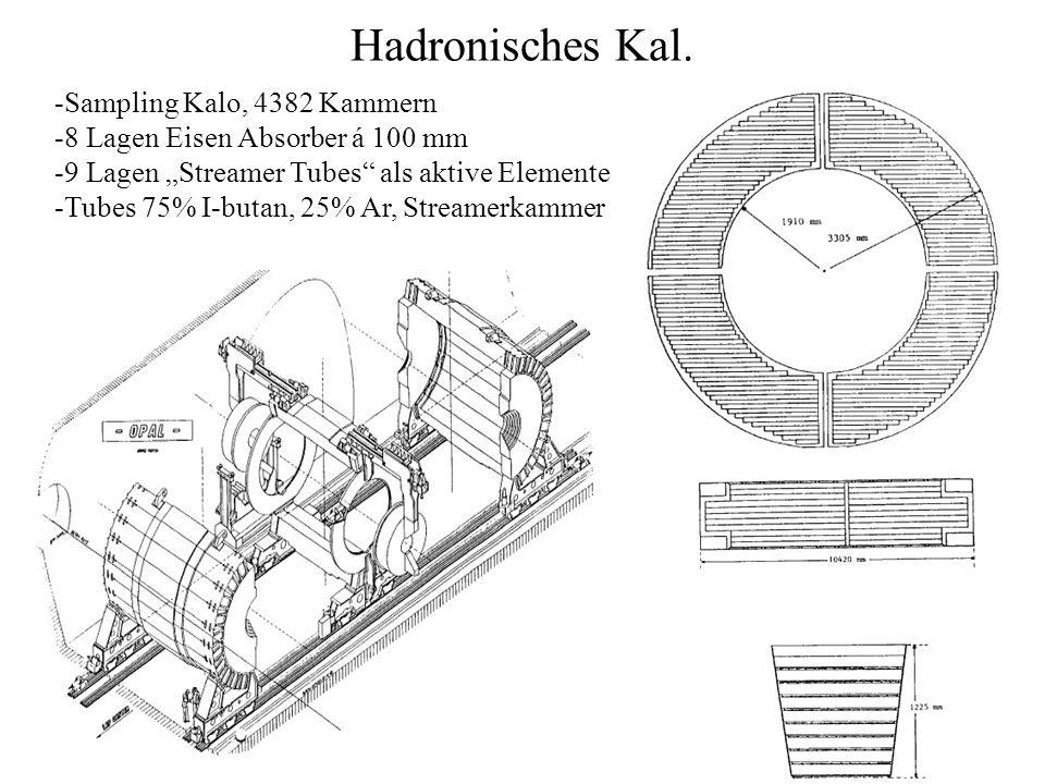 Hadronisches Kal. -Sampling Kalo, 4382 Kammern -8 Lagen Eisen Absorber á 100 mm -9 Lagen Streamer Tubes als aktive Elemente -Tubes 75% I-butan, 25% Ar