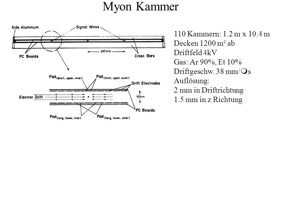 Myon Kammer 110 Kammern: 1.2 m x 10.4 m Decken 1200 m² ab Driftfeld 4kV Gas: Ar 90%, Et 10% Driftgeschw. 38 mm/ m s Auflösung: 2 mm in Driftrichtung 1