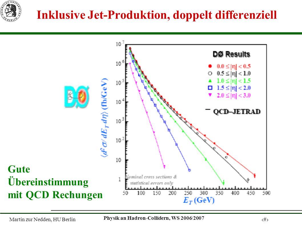 Martin zur Nedden, HU Berlin 11 Physik an Hadron-Collidern, WS 2006/2007 Inklusive Jet-Produktion, doppelt differenziell Gute Übereinstimmung mit QCD Rechungen