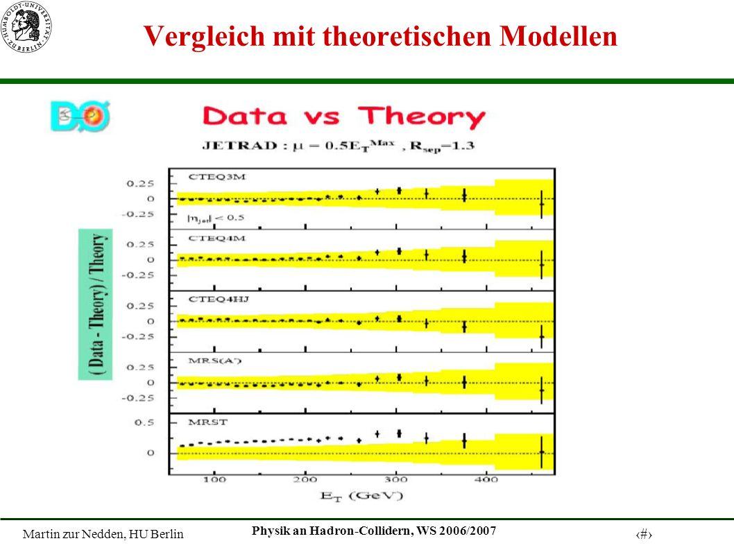 Martin zur Nedden, HU Berlin 12 Physik an Hadron-Collidern, WS 2006/2007 Vergleich mit theoretischen Modellen