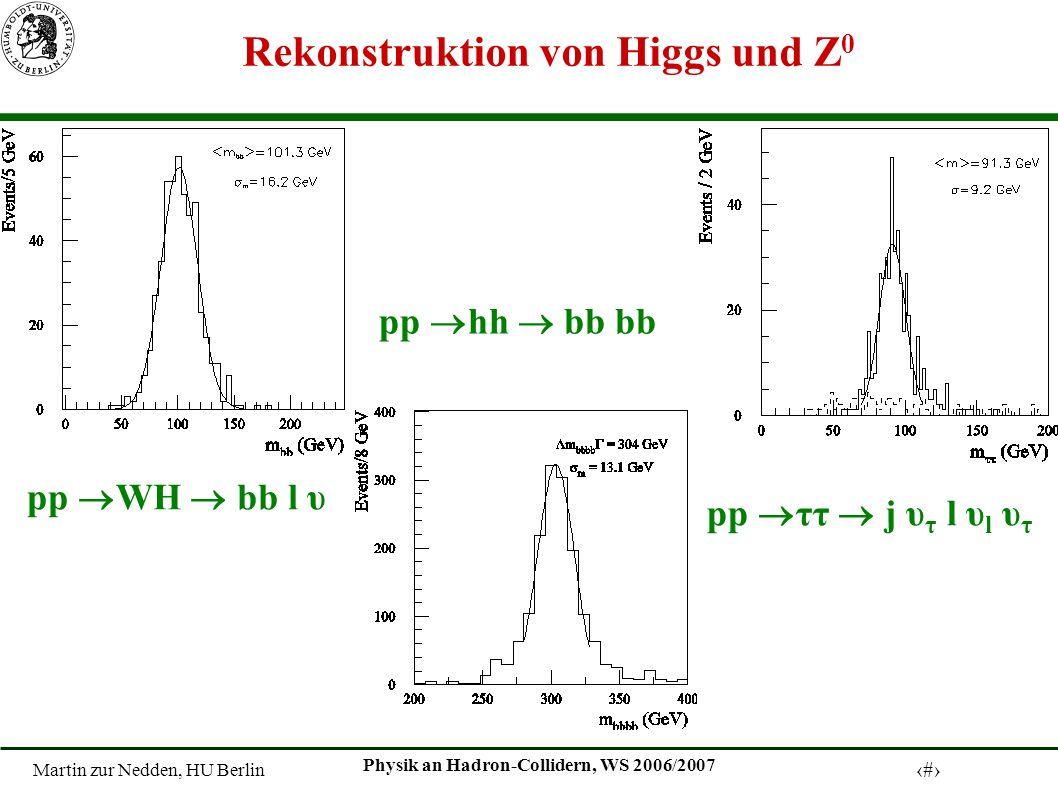 Martin zur Nedden, HU Berlin 16 Physik an Hadron-Collidern, WS 2006/2007 Rekonstruktion von Higgs und Z 0 pp WH bb l υ pp hh bb bb pp ττ j υ τ l υ l υ τ