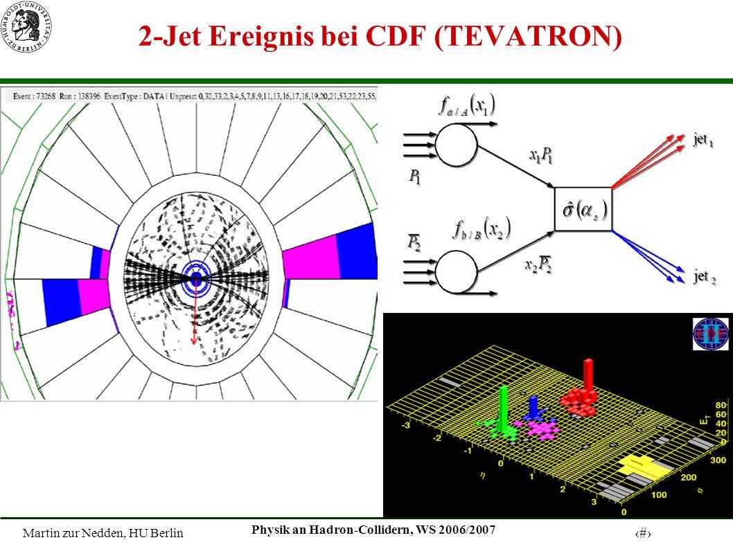 Martin zur Nedden, HU Berlin 3 Physik an Hadron-Collidern, WS 2006/2007 2-Jet Ereignis bei CDF (TEVATRON)