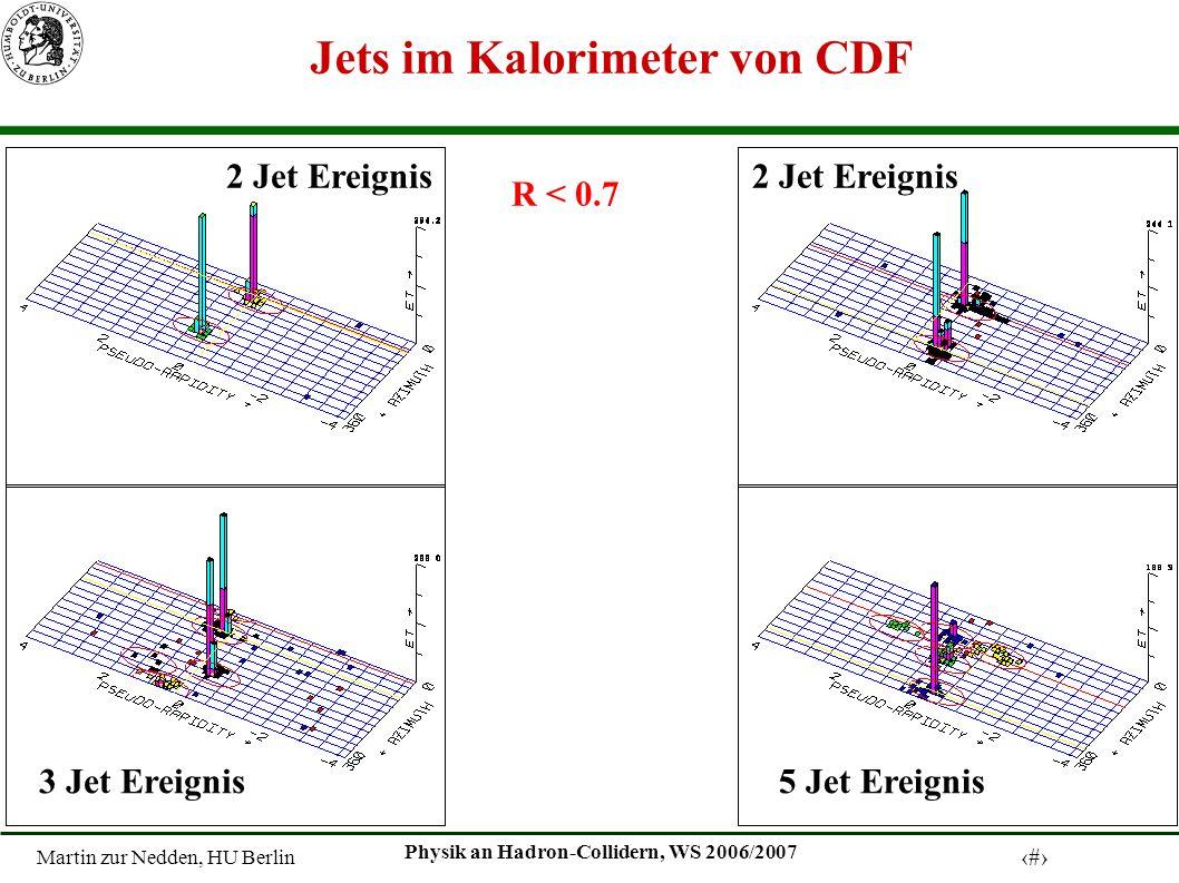 Martin zur Nedden, HU Berlin 6 Physik an Hadron-Collidern, WS 2006/2007 Jets im Kalorimeter von CDF R < 0.7 2 Jet Ereignis 5 Jet Ereignis3 Jet Ereignis 2 Jet Ereignis