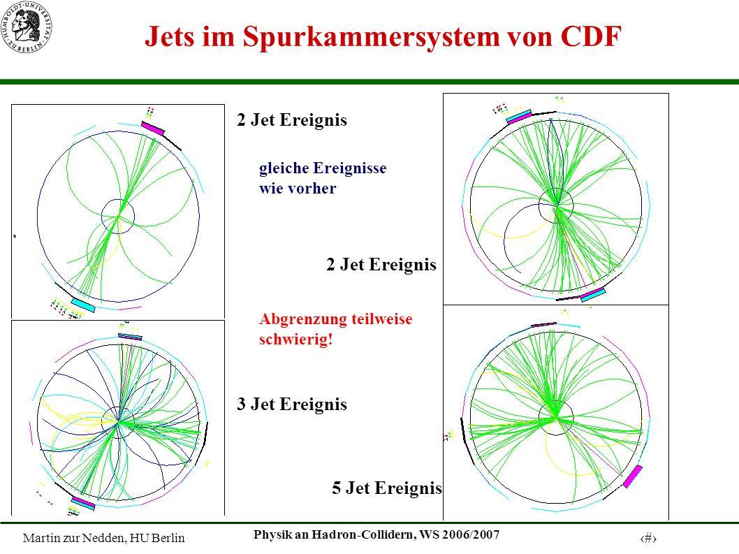 Martin zur Nedden, HU Berlin 7 Physik an Hadron-Collidern, WS 2006/2007 Jets im Spurkammersystem von CDF 2 Jet Ereignis 3 Jet Ereignis 5 Jet Ereignis Abgrenzung teilweise schwierig.