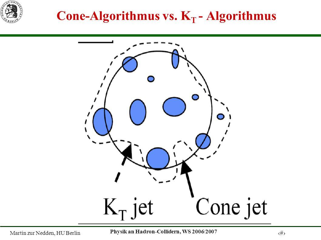 Martin zur Nedden, HU Berlin 8 Physik an Hadron-Collidern, WS 2006/2007 Cone-Algorithmus vs.