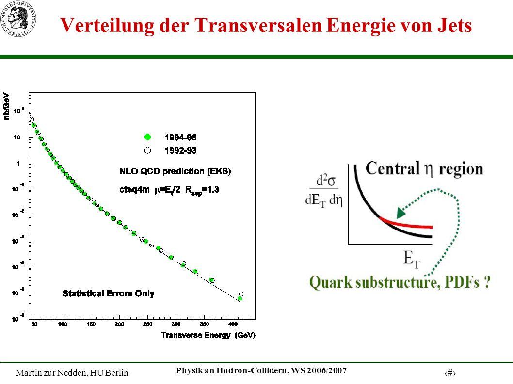 Martin zur Nedden, HU Berlin 9 Physik an Hadron-Collidern, WS 2006/2007 Verteilung der Transversalen Energie von Jets