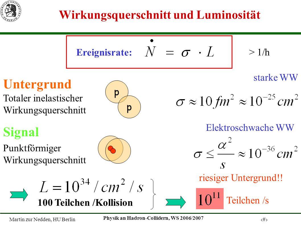 Martin zur Nedden, HU Berlin 8 Physik an Hadron-Collidern, WS 2006/2007 Ereignisse an Hadron Collider Untergrund (häufig): starke Wechselwirkung Quarks, Gluonen ( LHC: ~ 20 p – p Kollisionsereignisse pro Bunch-Crossing ) Interessante Ereignisse (selten): elektroschwache Prozesse, Zerfall schwerer Teilchen hochenergetische Leptonen