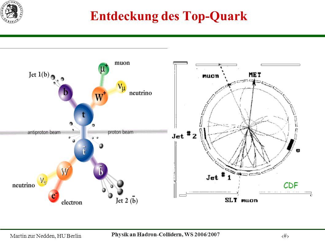 Martin zur Nedden, HU Berlin 14 Physik an Hadron-Collidern, WS 2006/2007 Entdeckung des Top-Quark